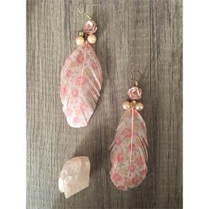 Floral Feather Earrings